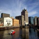 Landscape image of boat on waterway in Milwaukee