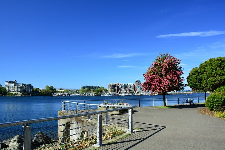 Landscape image of park and waterway in Victoria